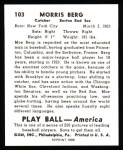 1939 Play Ball Reprint #103  Moe Berg  Back Thumbnail