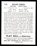 1939 Play Ball Reprint #115  Ralph Kress  Back Thumbnail