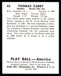 1939 Play Ball Reprint #62  Tom Carey  Back Thumbnail