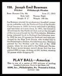 1939 Play Ball Reprint #128  Joe Bowman  Back Thumbnail