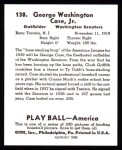1939 Play Ball Reprint #138  George Case  Back Thumbnail