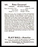 1939 Play Ball Reprint #141  Pete Coscarart  Back Thumbnail