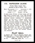 1940 Play Ball Reprint #173  Nap Lajoie  Back Thumbnail