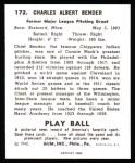 1940 Play Ball Reprint #172  Chief Bender  Back Thumbnail