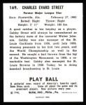 1940 Play Ball Reprint #169  Gabby Street  Back Thumbnail