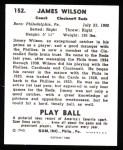 1940 Play Ball Reprint #152  Jimmy Wilson  Back Thumbnail