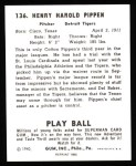 1940 Play Ball Reprint #136  Cotton Pippen  Back Thumbnail