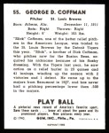 1940 Play Ball Reprint #55  Dick Coffman  Back Thumbnail