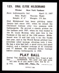 1940 Play Ball Reprint #123  George Hildebrand  Back Thumbnail