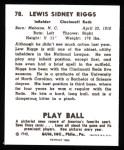 1940 Play Ball Reprint #78  Lew Riggs  Back Thumbnail