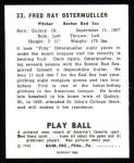 1940 Play Ball Reprint #33  Fritz Ostermueller  Back Thumbnail
