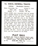 1940 Play Ball Reprint #16  Cecil Travis  Back Thumbnail