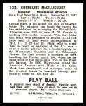 1940 Play Ball Reprint #132  Connie Mack  Back Thumbnail