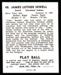 1940 Play Ball Reprint #48  Luke Sewell  Back Thumbnail