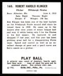 1940 Play Ball Reprint #165  Bob Klinger  Back Thumbnail