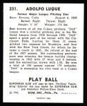 1940 Play Ball Reprint #231  Dolf Luque  Back Thumbnail
