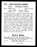 1940 Play Ball Reprint #191  John Babich  Back Thumbnail