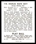 1940 Play Ball Reprint #118  Waite Hoyt  Back Thumbnail