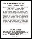 1940 Play Ball Reprint #222  Max Butcher  Back Thumbnail