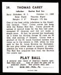 1940 Play Ball Reprint #39  Tom Carey  Back Thumbnail