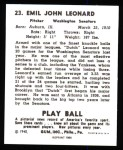 1940 Play Ball Reprint #23  Dutch Leonard  Back Thumbnail