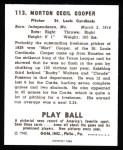 1940 Play Ball Reprint #113  Mort Cooper  Back Thumbnail