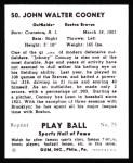 1941 Play Ball Reprint #50  John Cooney  Back Thumbnail