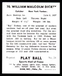 1941 Play Ball Reprint #70  Bill Dickey  Back Thumbnail