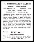 1941 Play Ball Reprint #61  Vince DiMaggio  Back Thumbnail