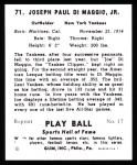 1941 Play Ball Reprint #71  Joe DiMaggio  Back Thumbnail
