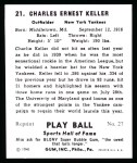 1941 Play Ball Reprint #21  Charlie Keller  Back Thumbnail