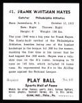 1941 Play Ball Reprint #41  Frank Hayes  Back Thumbnail