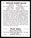 1941 Play Ball Reprint #1  Ed Miller  Back Thumbnail
