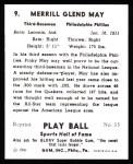 1941 Play Ball Reprint #9  Pinky May  Back Thumbnail