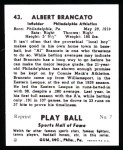 1941 Play Ball Reprint #43  Al Brancato  Back Thumbnail