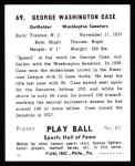 1941 Play Ball Reprint #69  George Case  Back Thumbnail