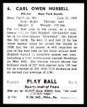 1941 Play Ball Reprint #6  Carl Hubbell  Back Thumbnail
