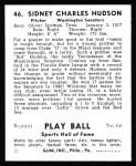 1941 Play Ball Reprint #46  Sid Hudson  Back Thumbnail