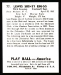 1939 Play Ball Reprint #77  Lew Riggs  Back Thumbnail