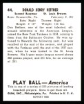 1939 Play Ball Reprint #44  Don Heffner  Back Thumbnail