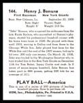 1939 Play Ball Reprint #144  Zeke Bonura  Back Thumbnail