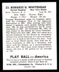 1939 Play Ball Reprint #23  Burgess Whitehead  Back Thumbnail