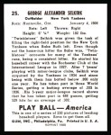 1939 Play Ball Reprint #25  George Selkirk  Back Thumbnail