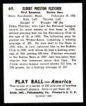 1939 Play Ball Reprint #69  Elbie Fletcher  Back Thumbnail