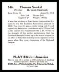 1939 Play Ball Reprint #146  Tom Sunkel  Back Thumbnail
