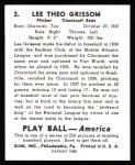 1939 Play Ball Reprint #2  Lee Grissom  Back Thumbnail