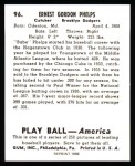 1939 Play Ball Reprint #96  Babe Phelps  Back Thumbnail