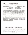 1939 Play Ball Reprint #118  Lynn Nelson  Back Thumbnail