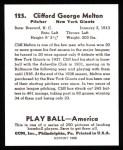1939 Play Ball Reprint #125  Cliff Melton  Back Thumbnail