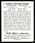 1939 Play Ball Reprint #7  Bobby Doerr  Back Thumbnail